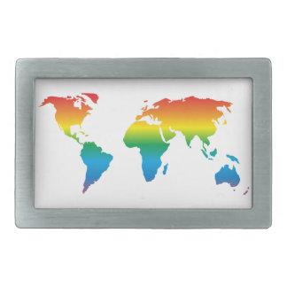 MapRef World map Rainbow White Rectangular Rectangular Belt Buckle