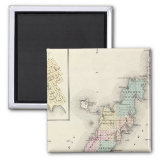 Maps of Door County, Sturgeon Bay and Jenny 2 Inch Square Magnet