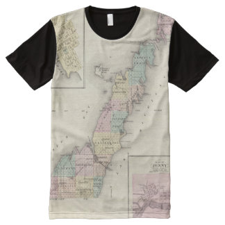 Maps of Door County, Sturgeon Bay and Jenny All-Over Print T-shirt