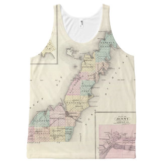 Maps of Door County, Sturgeon Bay and Jenny All-Over Print Tank Top