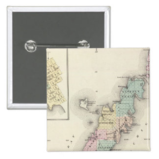 Maps of Door County, Sturgeon Bay and Jenny Pinback Button