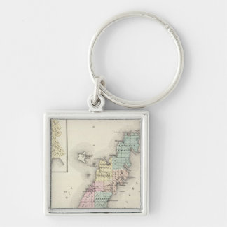 Maps of Door County, Sturgeon Bay and Jenny Silver-Colored Square Keychain