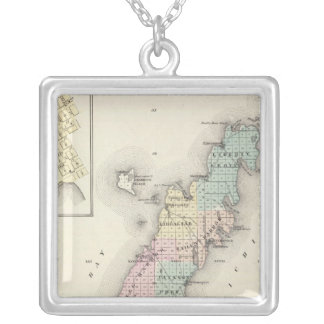 Maps of Door County, Sturgeon Bay and Jenny Square Pendant Necklace