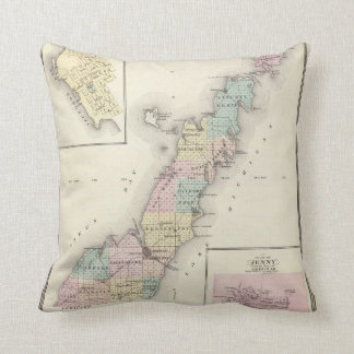 Maps of Door County, Sturgeon Bay and Jenny Throw Pillow