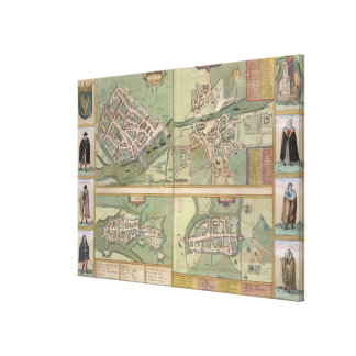 Maps of Galway, Dublin, Limerick, and Cork, from ' Canvas Print