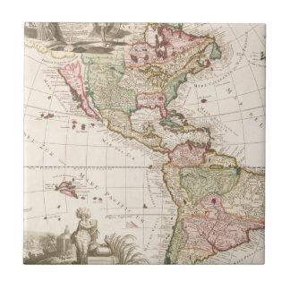 Maps of North and South America (1680-1742) Ceramic Tile