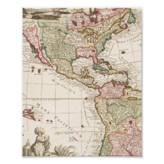 Maps of North and South America (1680-1742) Poster