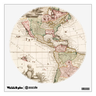 Maps of North and South America (1680-1742) Wall Sticker