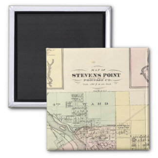 Maps of Stevens Point, Elroy and Wonewoc 2 Inch Square Magnet