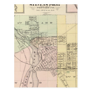Maps of Stevens Point, Elroy and Wonewoc Postcard