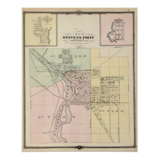 Maps of Stevens Point, Elroy and Wonewoc Poster