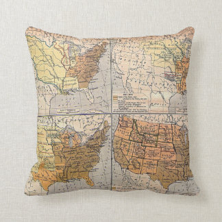 Decorative Pillows With States : Map Of United States Pillows - Decorative & Throw Pillows Zazzle