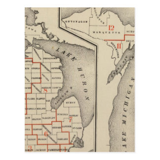 Maps showing the congressional districts postcards