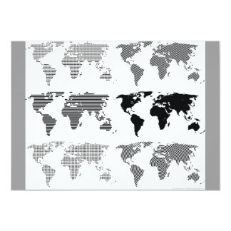 "Maps world continents styles designs patterns 5"" x 7"" invitation card"