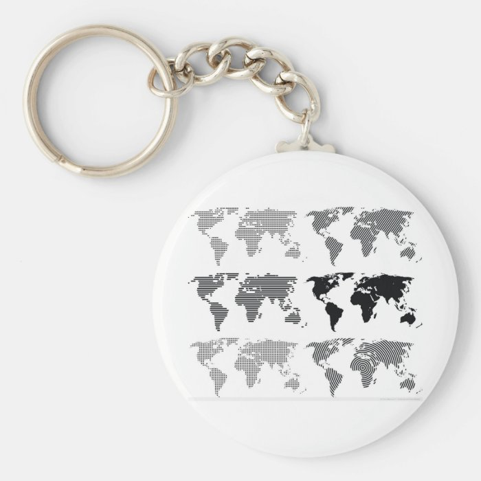 Maps world continents styles designs patterns keychain