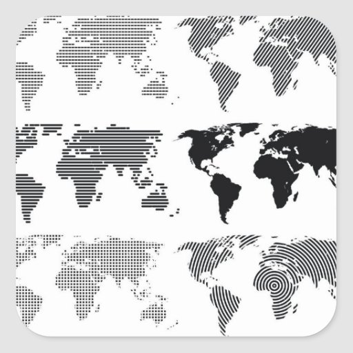 Maps world continents styles designs patterns square stickers