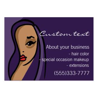 Maquillaje afroamericano del pelo de la plantilla  tarjetas de visita grandes