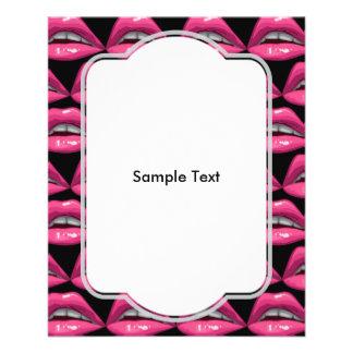 """Maquillaje de los labios del rosa del arte pop folleto 4.5"""" x 5.6"""""""