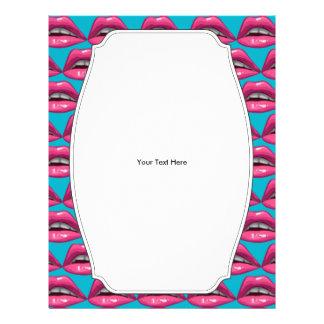 """Maquillaje de los labios del rosa del arte pop folleto 8.5"""" x 11"""""""