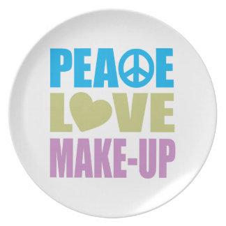 Maquillaje del amor de la paz platos para fiestas