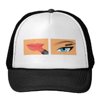Maquillaje - lápiz labial y rimel gorros bordados