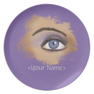 Maquillaje púrpura del ojo platos