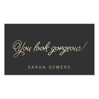 Maquillaje y belleza tipográfica del oro del estil tarjetas personales