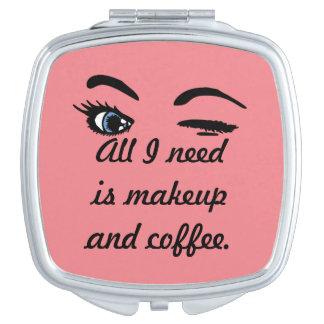 Maquillaje y café espejos para el bolso