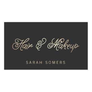 Maquillaje y oro elegante del estilista tipográfic tarjetas de visita