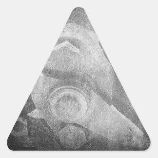 Máquina apenada gris soñador retro del vintage pegatina triangular