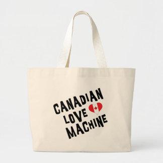Máquina canadiense del amor bolsas lienzo