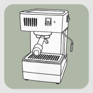 Máquina de café express pegatina cuadrada