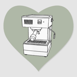 Máquina de café express pegatina en forma de corazón