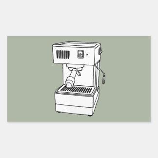 Máquina de café express pegatina rectangular