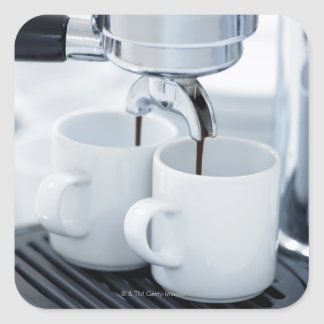 Máquina de café express que hace el café pegatina cuadrada