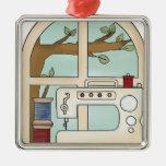 máquina de coser adornos