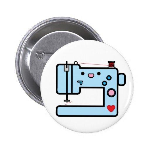 máquina de coser azul pin