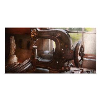 Máquina de coser - cuero - alcantarilla de la sill tarjetas fotográficas personalizadas