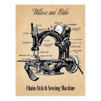 Máquina de coser de la Cadena-Puntada del vintage Tarjeta Postal