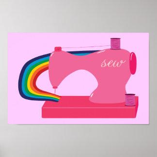 Máquina de coser del arco iris póster