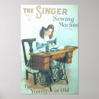Máquina de coser del cantante del vintage póster