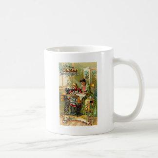"""Máquina de coser del cantante vintage """"de la taza básica blanca"""