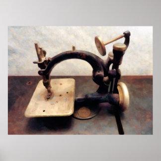 Máquina de coser del Victorian Póster