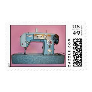 Máquina de coser del vintage azul grande sello