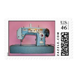 Máquina de coser del vintage azul grande
