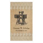 Máquina de coser del vintage del cordón de la tarjetas de visita