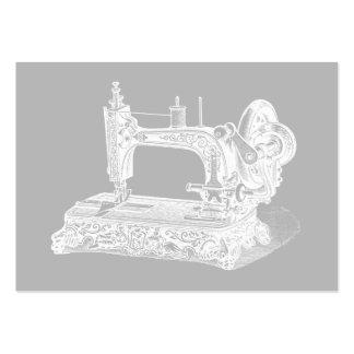 Máquina de coser del vintage - gris blanco de las  tarjetas de visita grandes