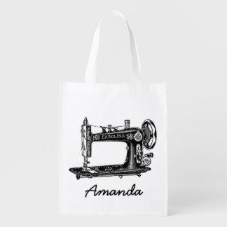 Máquina de coser del vintage personalizada bolsas para la compra