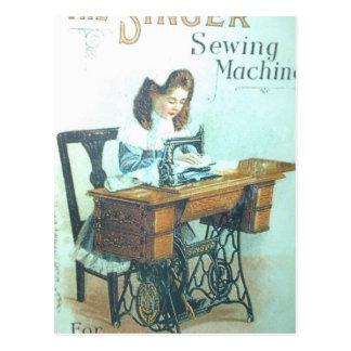 Máquina de coser del vintage postal
