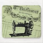 Máquina de coser elegante francesa del vintage alfombrillas de ratón